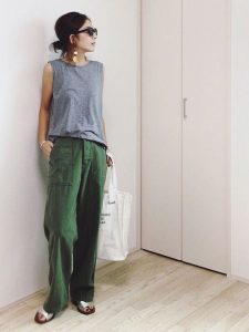Grey sando and Olive green utility pants