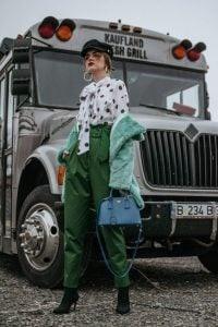 HIgh waisted green trouser and polka dot pussy bow blouse