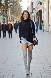 Denim Shorts And Gray Boots
