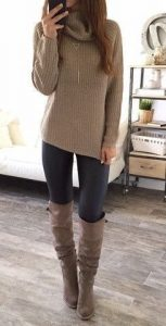 Knit Turtleneck And Grey Leggings