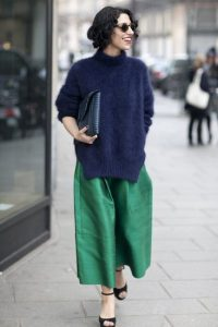 Knitted sweater and Green culottes pants