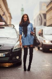 Denim Dress With Scarf And Black Boots