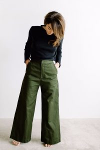 Olive Wide Leg Pants and Black Long Sleeves