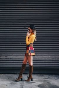 Patchwork Mini Skirt And Knee High Suede Boots