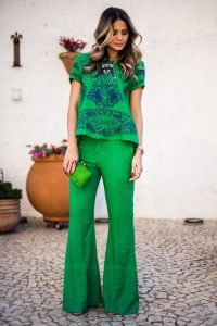 Patterned green top and Green wide leg pants