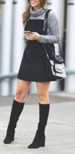 Pinafore Dress With Turtleneck And Black Boots