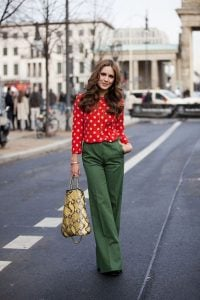 Polka dot-styled top and Olive Green Pants