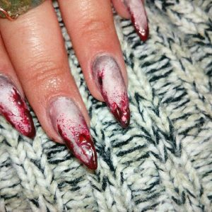 Red Cannibal Pointy Stiletto Nails