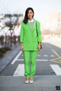 Stripe collared shirt, Lime mint green blazer jacket and pants