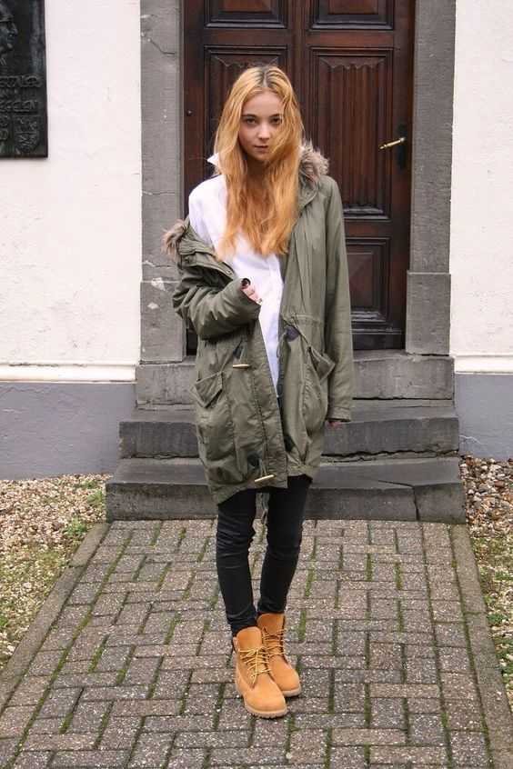 Trench Coat And Timberland Boots