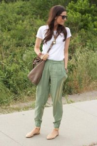 White Shirt and Light olive green utility pants