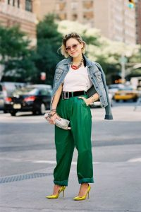 White shirt, Leather jacket and Green pants