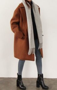 Winter Street Styled Over-sized Tan Wool Coat And Grey Leggings