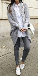 Woolen Cardigan And Grey Leggings