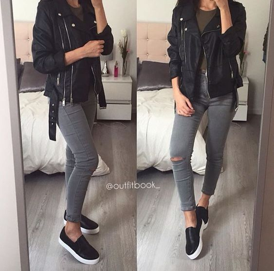 gray jeans outfits