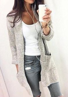 gray jeans outfit