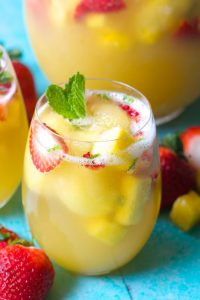 Sparkling Pineapple and Strawberry Juice