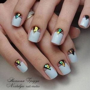 White Nails with Holographic Art