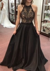 Black Beaded A-Line Dress
