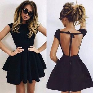 Black Open Back Skater Dress