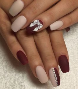 Burgundy Nails with Bow Detail