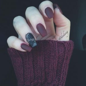 Burgundy Nails with a Black Lace Effect