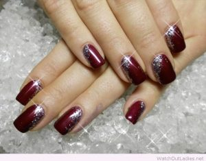 Burgundy Polish with Silver Sparkles