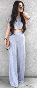 Crop Top And Wide Leg Trousers