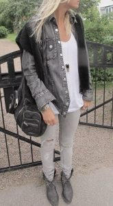Denim Jacket And Studded Boots