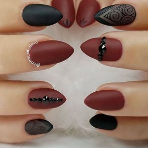 Embellished Matte Burgundy and Black Nails