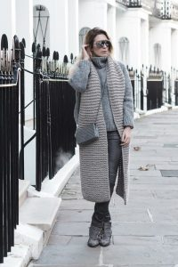 Funnel Neck Jumper With Oversized Scarf