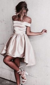 High Low Silk Champagne Dress