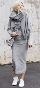 Jersey Midi Skirt And Waffle Jumper
