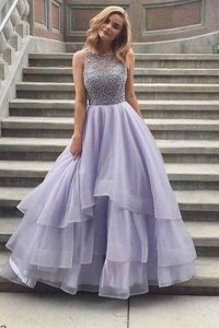 Lavender Tulle Tiered Gown