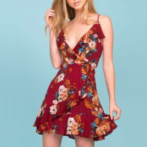 Mini Floral Wrap Dress