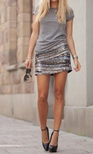 T-shirt And Sequinned Mini