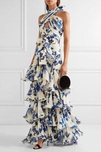 Teired Floral Ruffle Gown