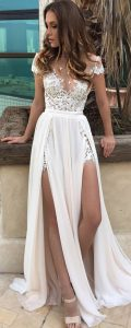 Thigh Split White Lace Dress