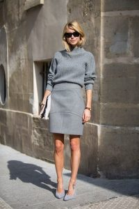 Wool Skirt And Funnel Neck Jumper