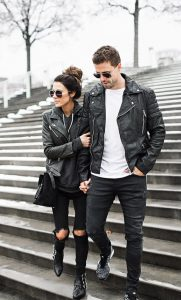 Black Biker Jackets And Jeans