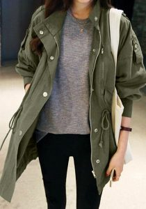 Army Green Windbreaker Jacket And Black Skinnies