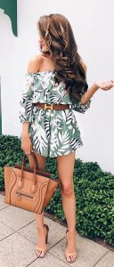 Belted Botanical Print Romper With Nude Sandals