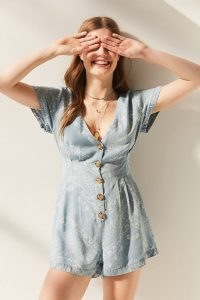 Blue Floral Printed Romper With Tortoiseshell Buttons