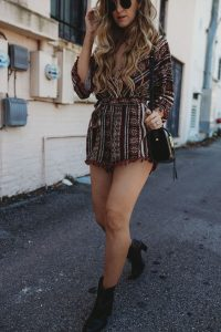 Boho Print Romper With Ankle Boots
