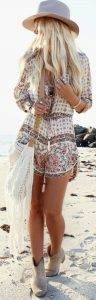 Cream Boho Romper With Straw Hat