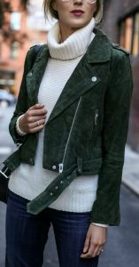 Dark Green Suede Biker Jacket And Textured Jumper