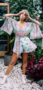 Floral Bohemian Romper With Winged Sleeves