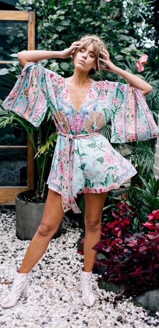 66ad02a8632d 13Floral Bohemian Romper With Winged Sleeves