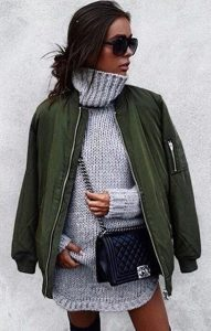 Green Bomber Jacket With Grey Woolen Dress