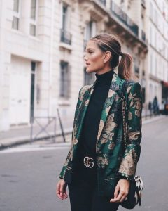 Green Floral Blazer And Black Outfit